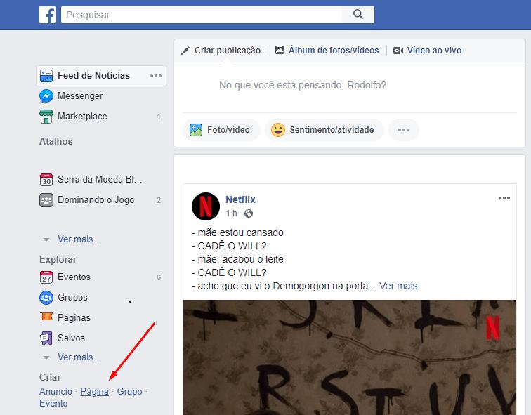 criar pagina no facebook
