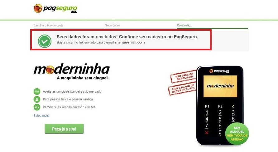 Ativação conta PagSeguro