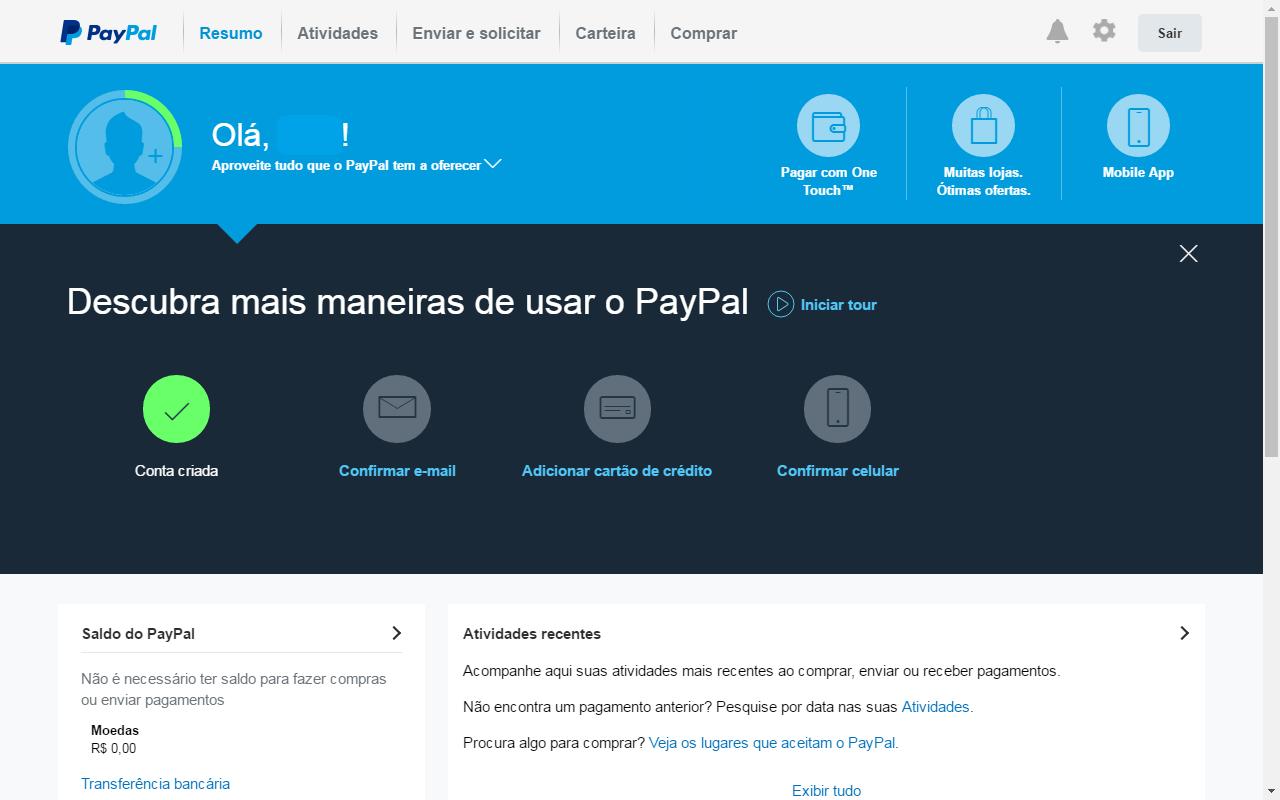 créditos no paypal